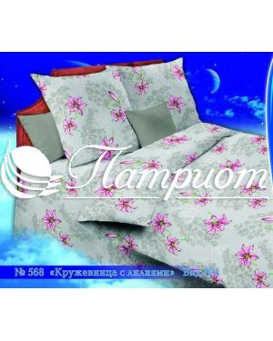 КПБ 1.5 спальный Кружевница с лилиями, серый, набивная бязь 125 гм2 568-1