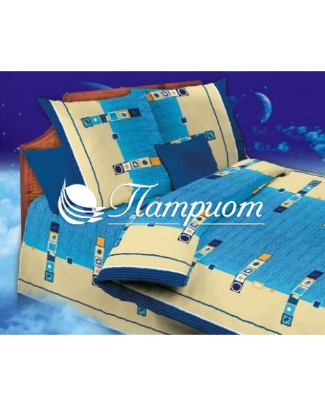 КПБ 1.5 спальный Мираж, синий, набивная бязь 125 гм2 156-1