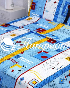 КПБ 1.5 спальный Стамбул, синий, набивная бязь 125 гм2 133-3