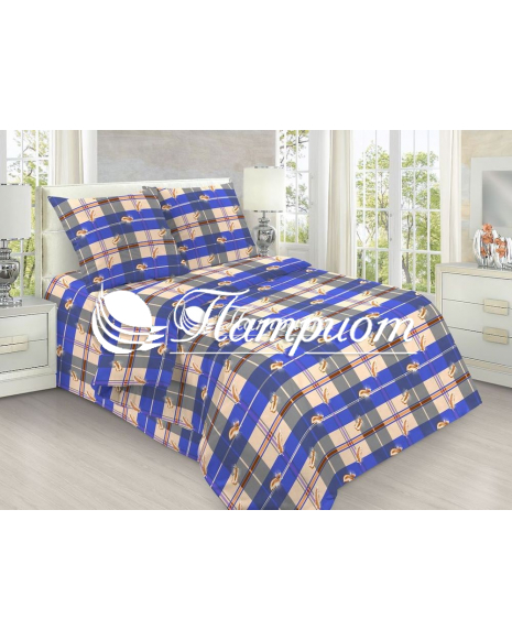 КПБ 1.5 спальный Перья, синий, набивная бязь 142 гм2 152-1