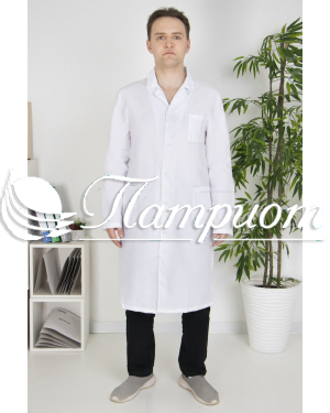 Халат медицинский мужской «Классика» белый ткань ТИСИ Модель 2