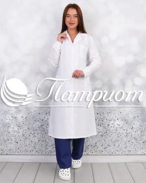 Халат медицинский женский «Классика» белый ткань Бязь ГОСТ Модель 1