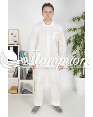 Костюм повара мужской белый ткань бязь ГОСТ Модель 5